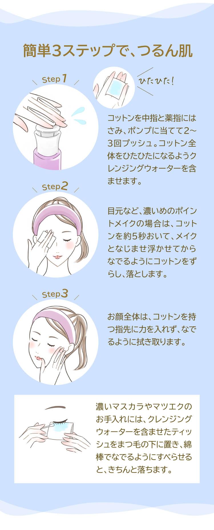 簡単3ステップで、つるん肌